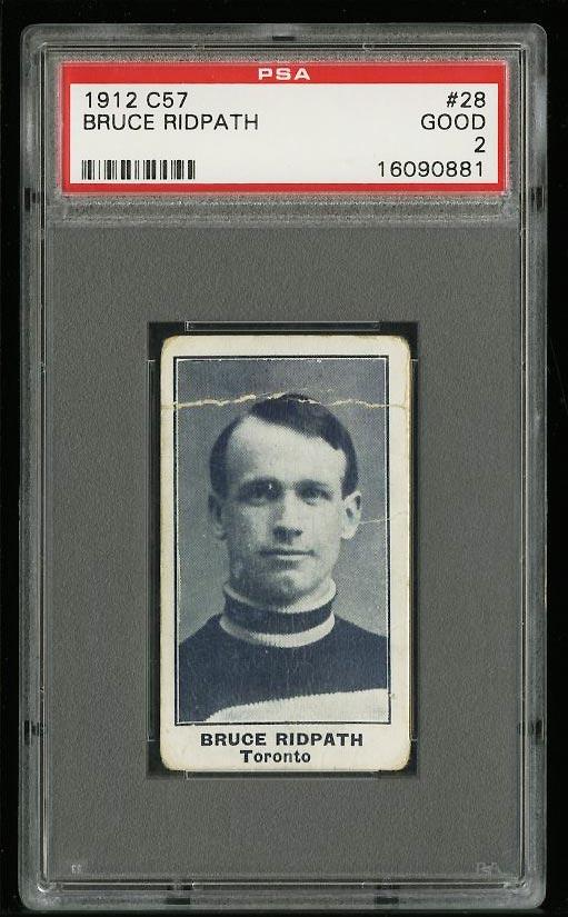 Image of: 1912 C57 Hockey Bruce Ridpath #28 PSA 2 GD (PWCC)