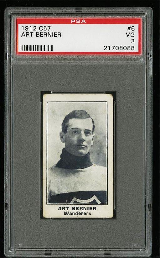 Image of: 1912 C57 Hockey Art Bernier #6 PSA 3 VG (PWCC)