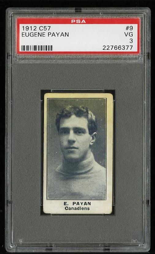 Image of: 1912 C57 Hockey Eugene Payan #9 PSA 3 VG (PWCC)