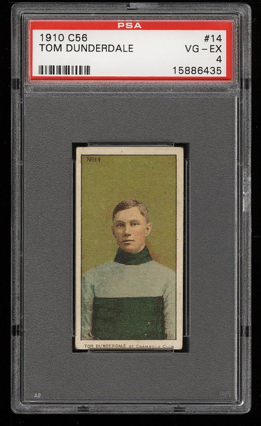 Image of: 1910 C56 Hockey Tom Dunderdale ROOKIE RC #14 PSA 4 VGEX (PWCC)