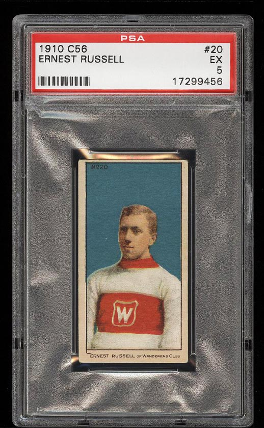 Image of: 1910 C56 Hockey Ernest Russell ROOKIE RC #20 PSA 5 EX (PWCC)