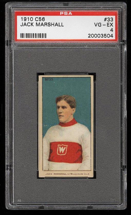 Image of: 1910 C56 Hockey Jack Marshall ROOKIE RC #33 PSA 4 VGEX (PWCC)