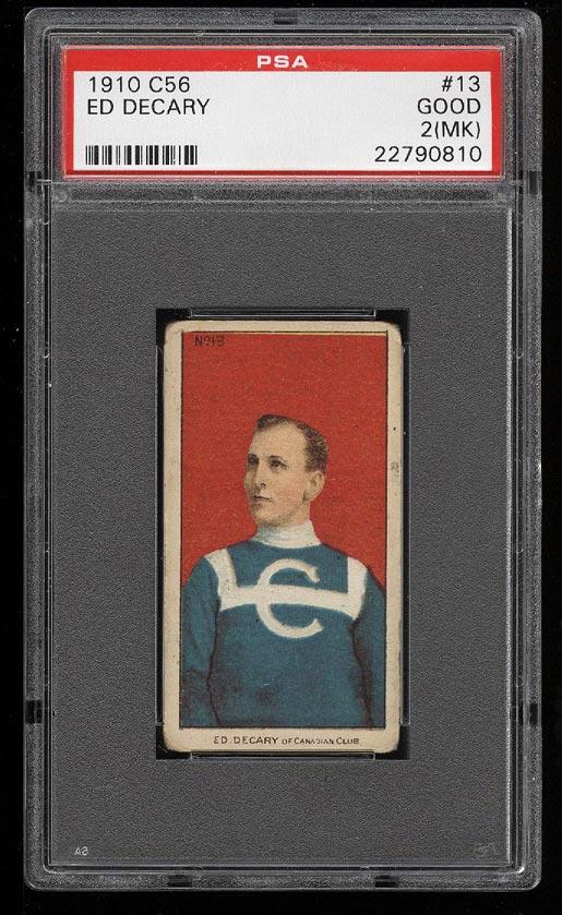 Image of: 1910 C56 Hockey Ed Decary #13 PSA 2(mk) GD (PWCC)