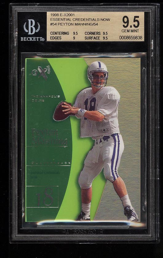 Image of: 1998 E-X2001 Essential Credentials Now Peyton Manning ROOKIE /54 BGS 9.5 (PWCC)