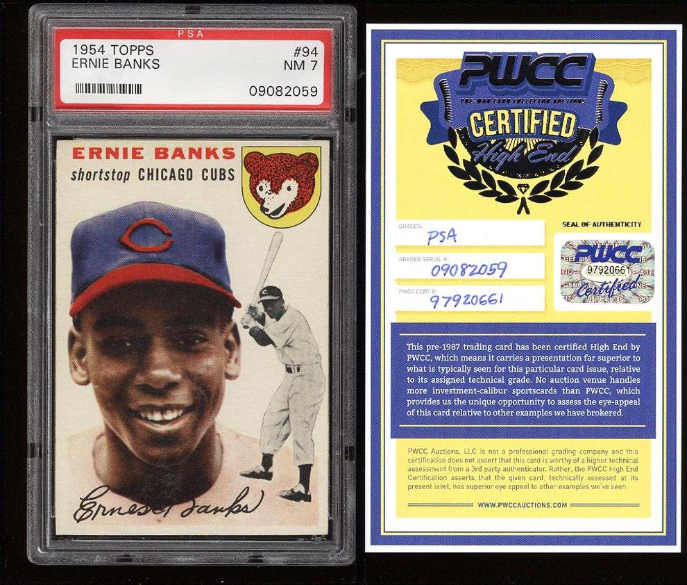 Image of: 1954 Topps Ernie Banks ROOKIE RC #94 PSA 7 NRMT (PWCC)