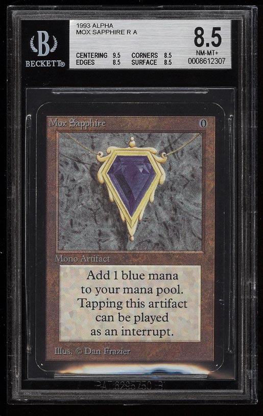 Image of: 1993 Magic The Gathering MTG Alpha Mox Sapphire R A BGS 8.5 NM-MT+ (PWCC)