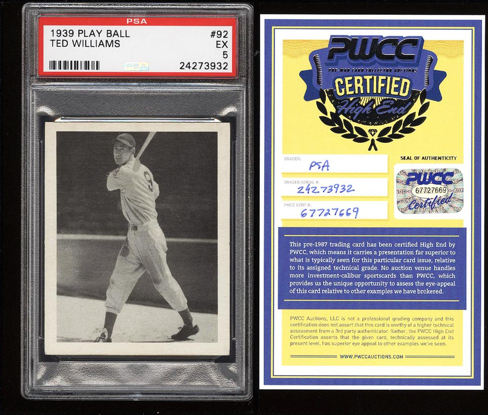 Image of: 1939 Play Ball Ted Williams ROOKIE RC #92 PSA 5 EX (PWCC)