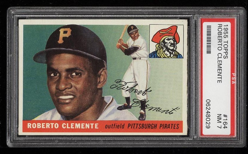 Image of: 1955 Topps Roberto Clemente ROOKIE RC #164 PSA 7 NRMT (PWCC)