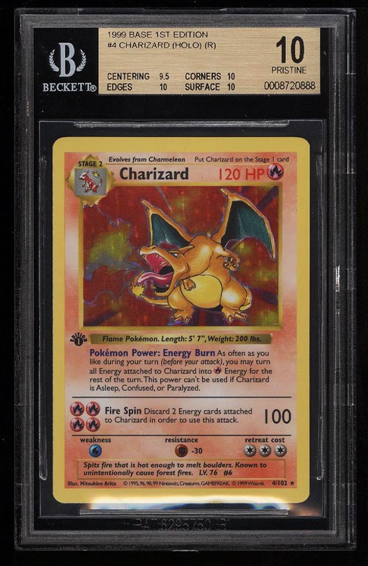 Image of: 1999 Pokemon Game Shawdowless 1st Edition Hologram Charizard #4 BGS 10 (PWCC)