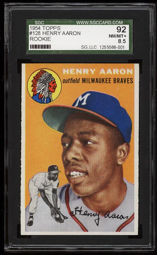 Image of: 1954 Topps Hank Aaron ROOKIE RC #128 SGC 8.5/92 NM-MT+ (PWCC)