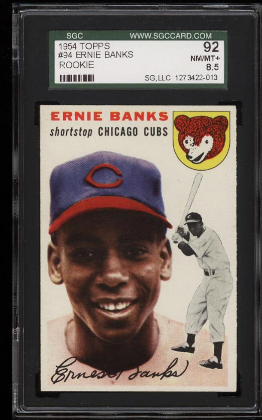 Image of: 1954 Topps Ernie Banks ROOKIE RC #94 SGC 8.5/92 NM-MT+ (PWCC)