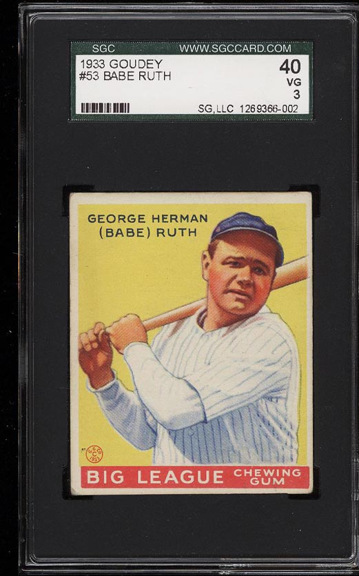 Image of: 1933 Goudey Babe Ruth #53 SGC 3/40 VG (PWCC)