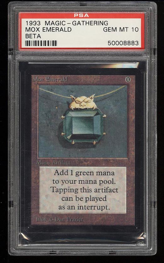 Image of: 1993 Magic The Gathering MTG Beta Mox Emerald R A PSA 10 GEM MINT (PWCC)