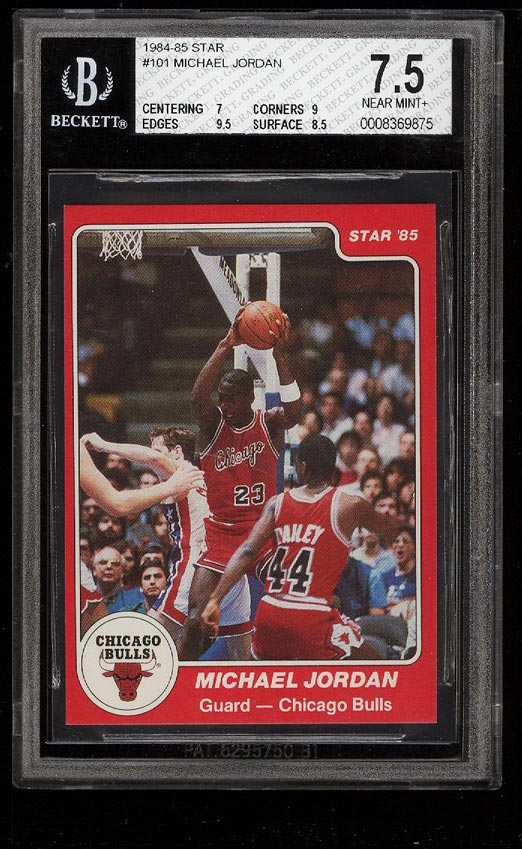 Image of: 1984-85 Star Basketball Michael Jordan ROOKIE RC #101 BGS 7.5 NRMT+ (PWCC)