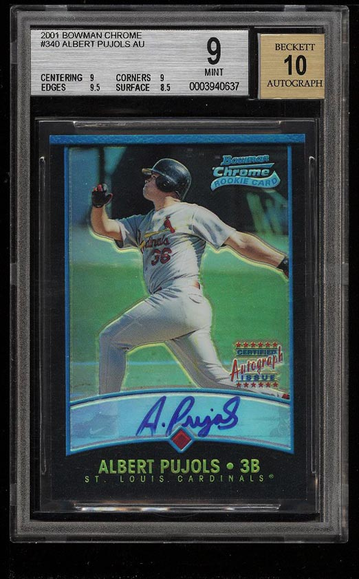 Image of: 2001 Bowman Chrome Albert Pujols ROOKIE RC AUTO /500 #340 BGS 9 MINT (PWCC)