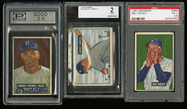 Image of: 1951 Bowman Low-Grd COMPLETE SET Ford Berra Williams Mays Mantle RC BVG 2 (PWCC)