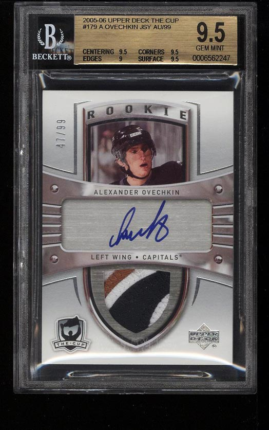 Image of: 2005 UD The Cup Alex Ovechkin ROOKIE RC AUTO PATCH /99 #179 BGS 9.5 GEM (PWCC)