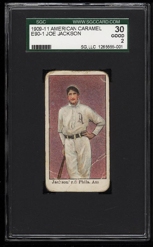 Image of: 1909 E90-1 American Caramel Shoeless Joe Jackson ROOKIE RC SGC 2/30 GD (PWCC)