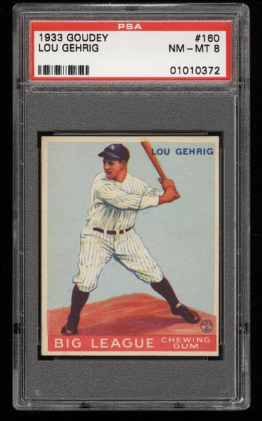 Image of: 1933 Goudey Lou Gehrig #160 PSA 8 NM-MT (PWCC)