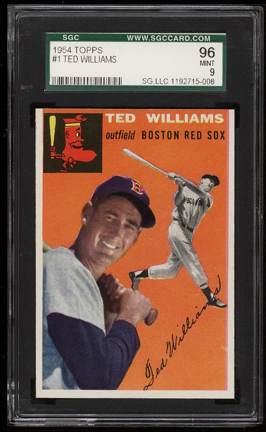 Image of: 1954 Topps Ted Williams #1 SGC 9/96 MINT (PWCC)