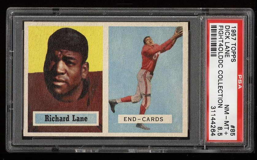 Image of: 1957 Topps Football Dick Lane ROOKIE RC #85 PSA 8.5 NM-MT+ (PWCC)