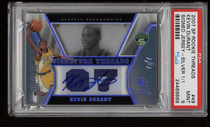 Image of: 2007 SP Rookie Threads Silver Kevin Durant ROOKIE RC AUTO PATCH 1/1 PSA 9 (PWCC)