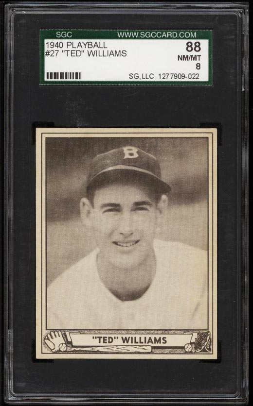 Image of: 1940 Play Ball Ted Williams #27 SGC 8 NM-MT (PWCC)