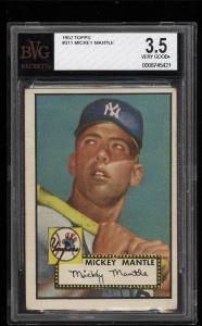 Image of: 1952 Topps Mickey Mantle #311 BVG 3.5 VG+ (PWCC)
