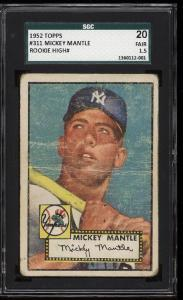 Image of: 1952 Topps Mickey Mantle #311 SGC 1.5/20 FR (PWCC)