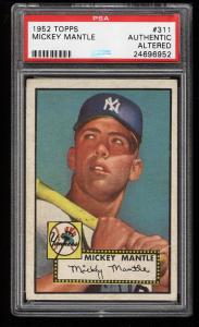 Image of: 1952 Topps Mickey Mantle #311 PSA AUTH (PWCC)