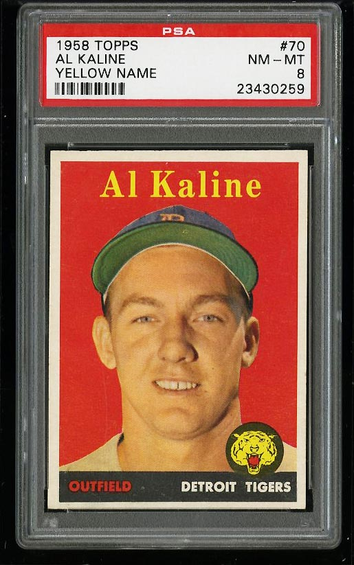 Image of: 1958 Topps Al Kaline YELLOW NAME #70 PSA 8 NM-MT (PWCC)