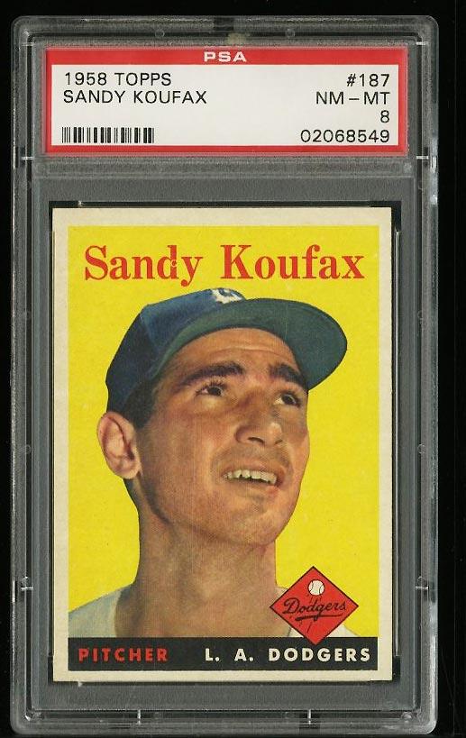 Image of: 1958 Topps Sandy Koufax #187 PSA 8 NM-MT (PWCC)