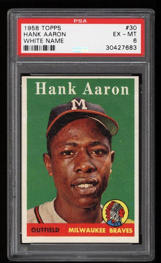 Image of: 1958 Topps Hank Aaron #30 PSA 6 EXMT (PWCC)