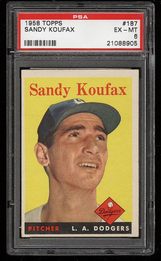 Image of: 1958 Topps Sandy Koufax #187 PSA 6 EXMT (PWCC)
