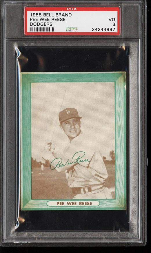 Image of: 1958 Bell Brand Dodgers Pee Wee Reese PSA 3 VG (PWCC)