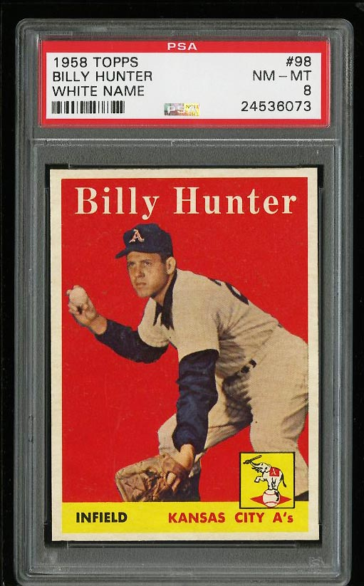 Image of: 1958 Topps Billy Hunter #98 PSA 8 NM-MT (PWCC)