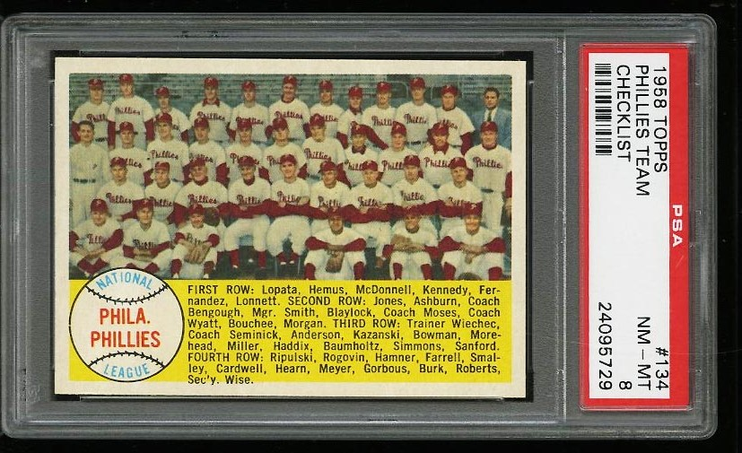 Image of: 1958 Topps Phillies Team #134 PSA 8 NM-MT (PWCC)
