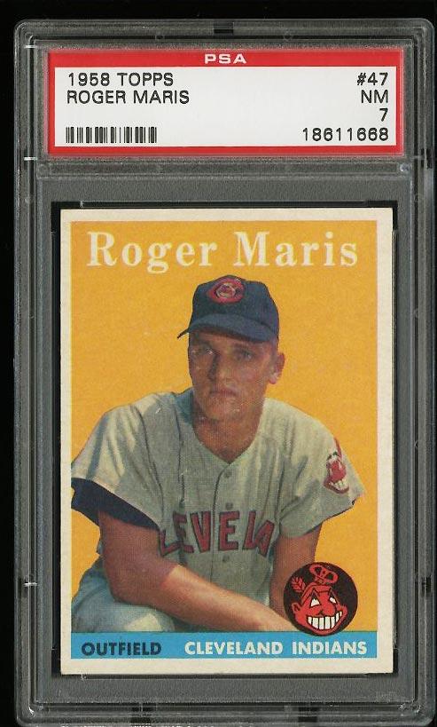 Image of: 1958 Topps Roger Maris ROOKIE RC #47 PSA 7 NRMT (PWCC)