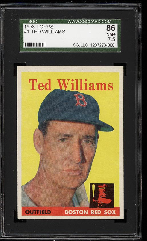 Image of: 1958 Topps Ted Williams #1 SGC 7.5/86 NRMT+ (PWCC)