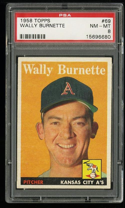 Image of: 1958 Topps Wally Burnette #69 PSA 8 NM-MT (PWCC)