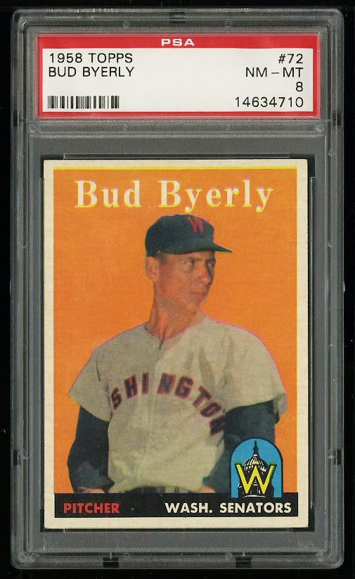 Image of: 1958 Topps Bud Byerly #72 PSA 8 NM-MT (PWCC)