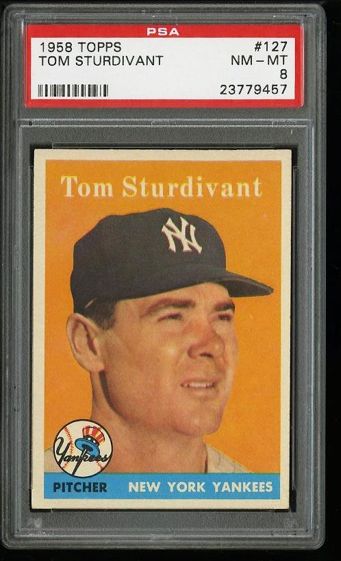 Image of: 1958 Topps Tom Sturdivant #127 PSA 8 NM-MT (PWCC)