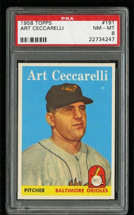 Image of: 1958 Topps Art Ceccarelli #191 PSA 8 NM-MT (PWCC)