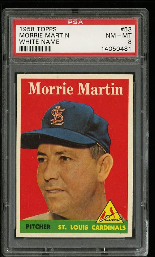 Image of: 1958 Topps Morrie Martin #53 PSA 8 NM-MT (PWCC)
