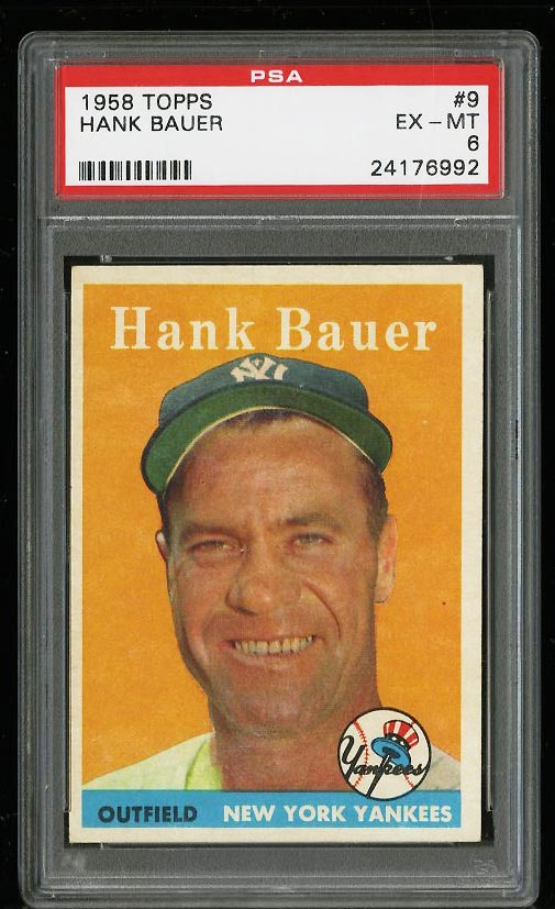 Image of: 1958 Topps Hank Bauer #9 PSA 6 EXMT (PWCC)