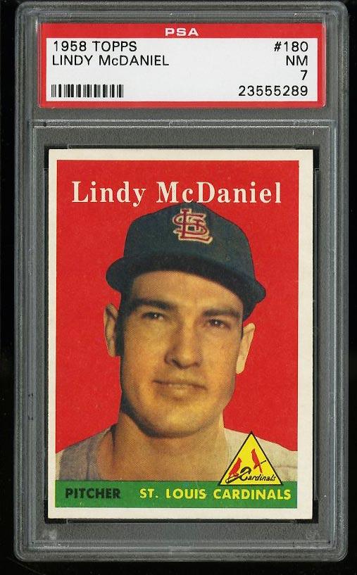 Image of: 1958 Topps Lindy McDaniel #180 PSA 7 NRMT (PWCC)