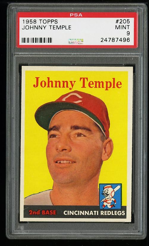 Image of: 1958 Topps Johnny Temple #205 PSA 9 MINT (PWCC)