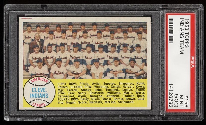 Image of: 1958 Topps Indians Team #158 PSA 9(oc) MINT (PWCC)