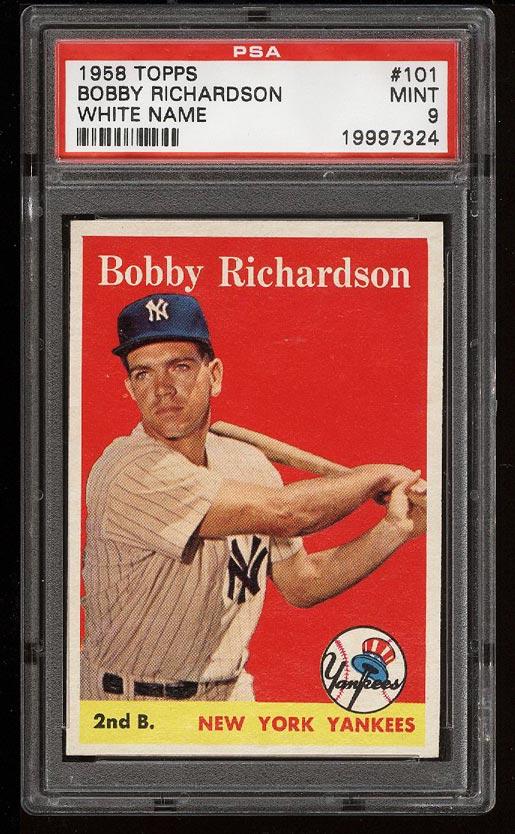 Image of: 1958 Topps Bobby Richardson #101 PSA 9 MINT (PWCC)