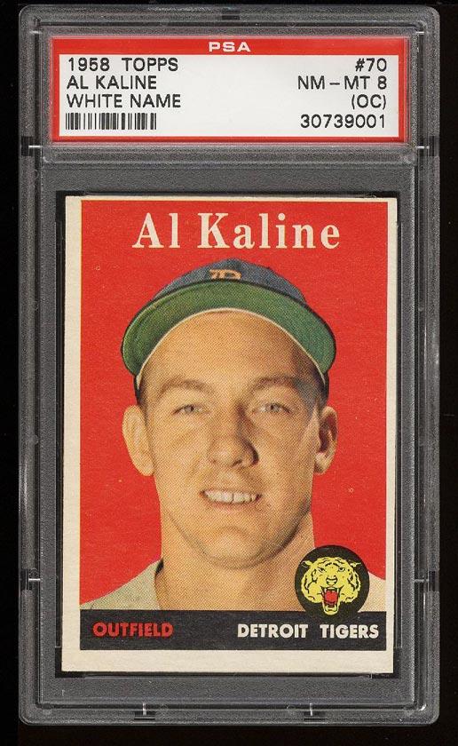 Image of: 1958 Topps Al Kaline #70 PSA 8(oc) NM-MT (PWCC)